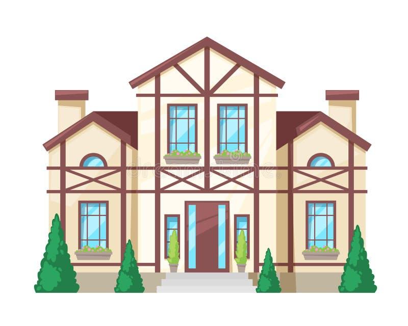Красочный загородный дом, коттедж семьи, недвижимость в захолустном стиле иллюстрация вектора