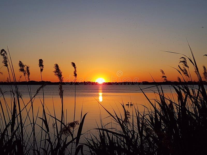 Красочный заход солнца на голландце Loosdrecht стоковое фото rf