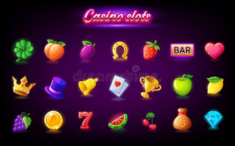 Красочный значок слотов установил для торгового автомата казино, игр азартной игры, значков для мобильной аркады и вектора игр го иллюстрация вектора