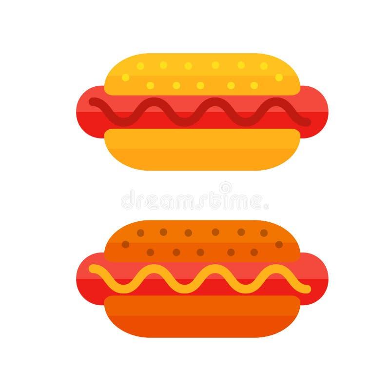 Красочный значок фаст-фуда шаржа сандвича мяса изолировал хот-дога ресторана вкусный американский и нездоровую еду бургера бесплатная иллюстрация