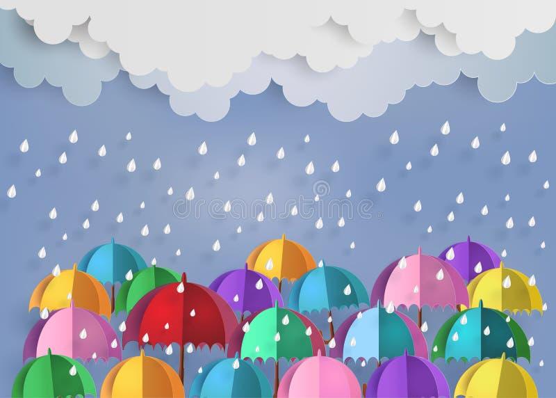 Красочный зонтик в воздухе с дождем бесплатная иллюстрация