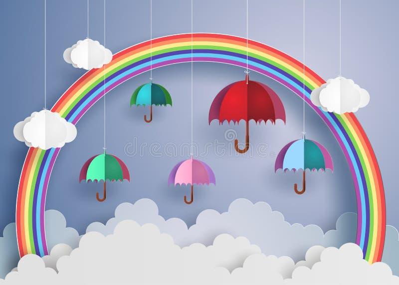 Красочный зонтик в воздухе с радугой иллюстрация штока