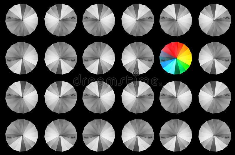 Красочный зонтик среди зонтиков выровнянных серым цветом стоковые фото