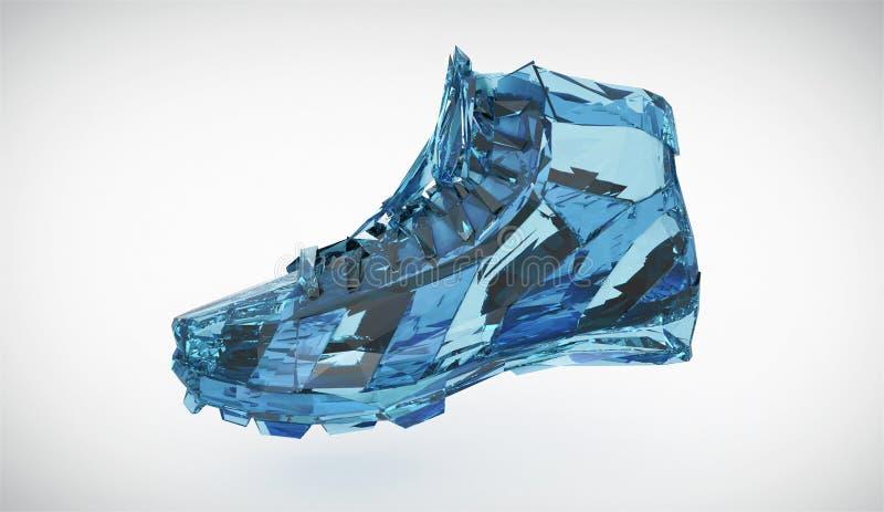Красочный диамант резвится ботинки, низкие поли тапки с трудными краями и сияющие стороны Резвит метафора достижения фитнеса иллюстрация штока