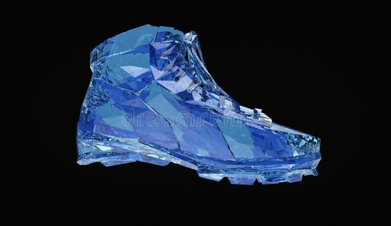 Красочный диамант резвится ботинки, низкие поли тапки с трудными краями и сияющие стороны Резвит метафора достижения фитнеса бесплатная иллюстрация