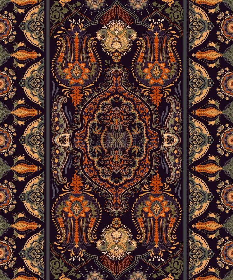 Красочный индийский орнамент, clipart вектора Аравийские геометрические обои картина paisley безшовная Дизайн для ткани, ткани, иллюстрация штока