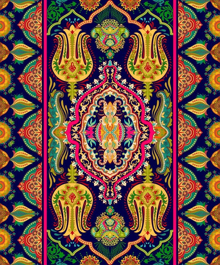 Красочный индийский орнамент, clipart вектора Аравийские геометрические обои картина paisley безшовная Дизайн для ткани, ткани, стоковые изображения rf