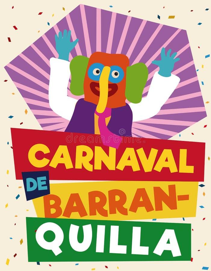 Красочный и праздничный выдвиженческий плакат с Marimonda для масленицы ` s Барранкильи, иллюстрации вектора бесплатная иллюстрация