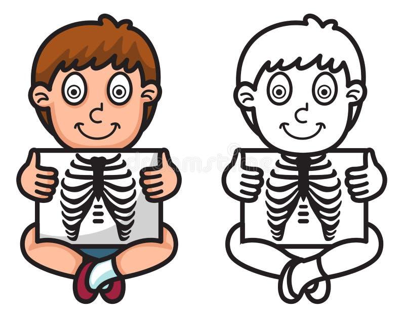 Красочный и черно-белый рентгеновский снимок для книжка-раскраски иллюстрация штока