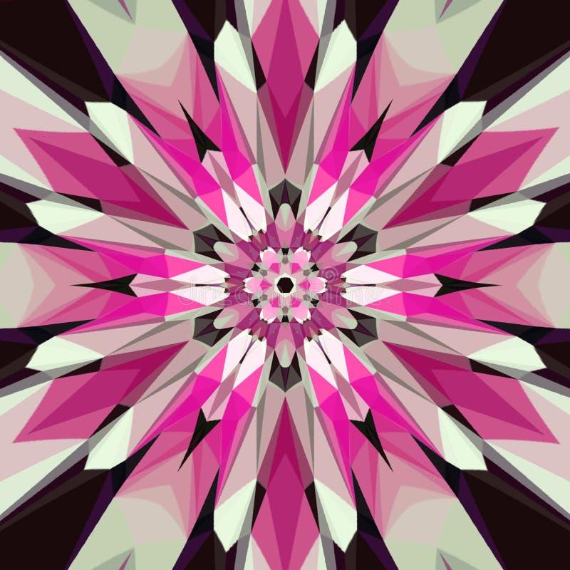 Красочный калейдоскоп мандалы, красного цвета, белых и черных мозаики pic, мозаика стекла влияния иллюстрация штока