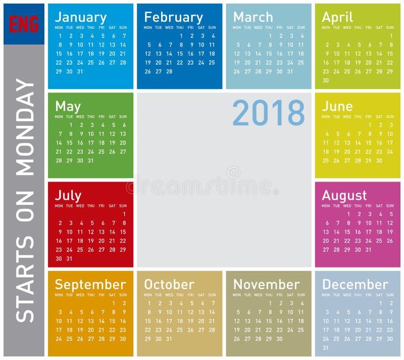 Красочный календарь на год 2018 Старты недели на понедельнике иллюстрация вектора
