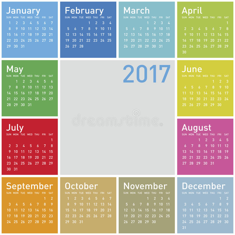 Красочный календарь на год 2017 иллюстрация штока