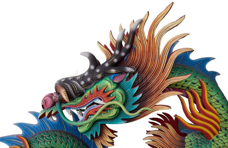 Красочный китайский изолированный дракон стоковая фотография