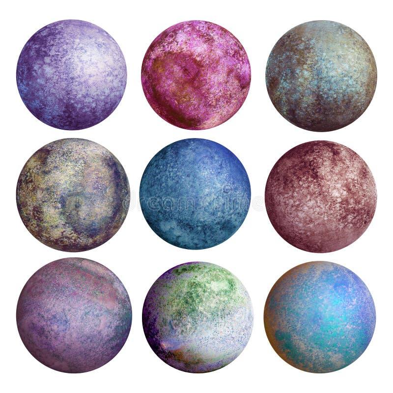 Красочный комплект изолированных планет акварели бесплатная иллюстрация