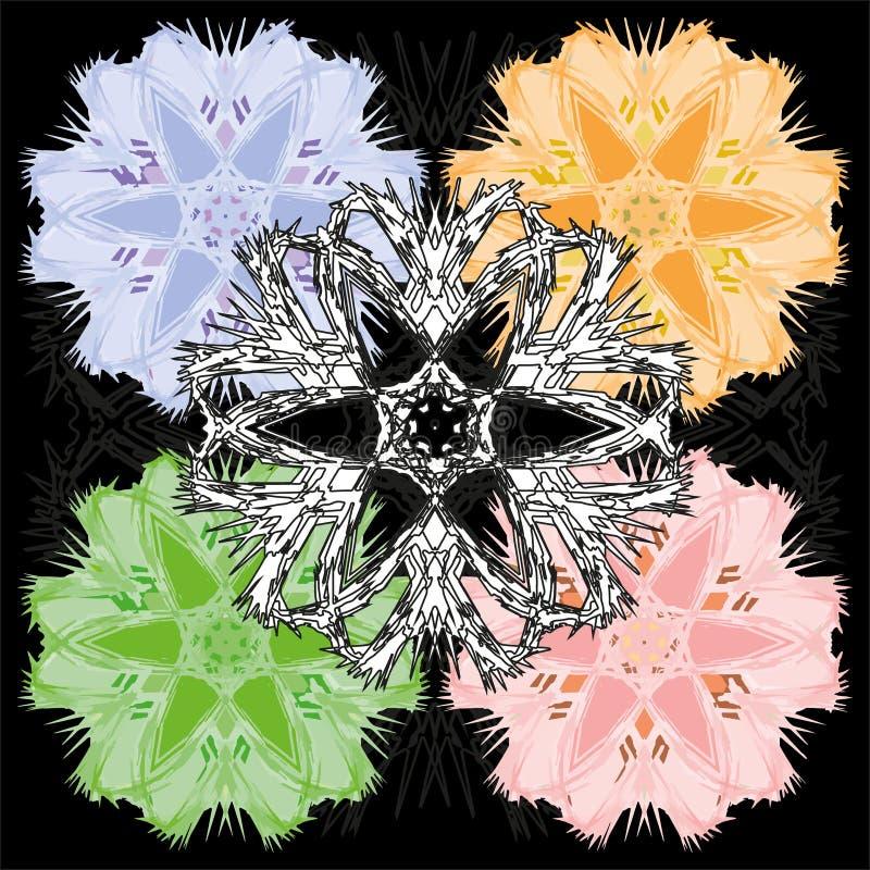 Красочный комплект пастельных флористических дизайнов ornamental бесплатная иллюстрация