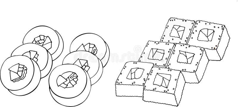 красочный комплект суш Иллюстрация растра на белой предпосылке иллюстрация вектора
