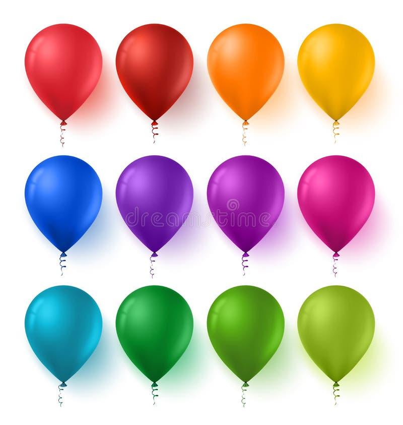 Красочный комплект воздушных шаров дня рождения с лоснистыми и сияющими цветами иллюстрация штока