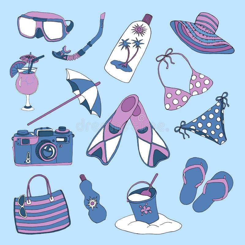 Красочный комплект с объектами для темы праздников пляжа иллюстрация вектора