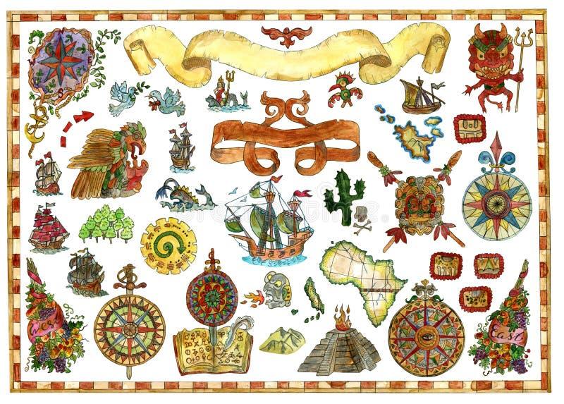 Красочный комплект с чертежами акварели для винтажного дизайна с кораблями, компаса, символов иллюстрация штока