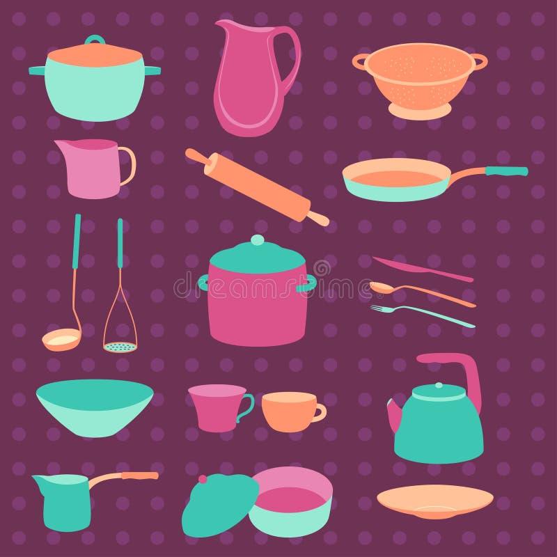 Красочный комплект утвари кухни цветастый crockery Плоский дизайн Шаблоны для сети иллюстрация штока