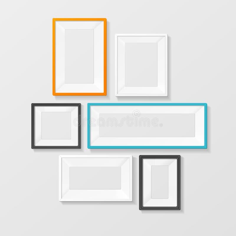Красочный комплект шаблона картинной рамки вектор иллюстрация вектора