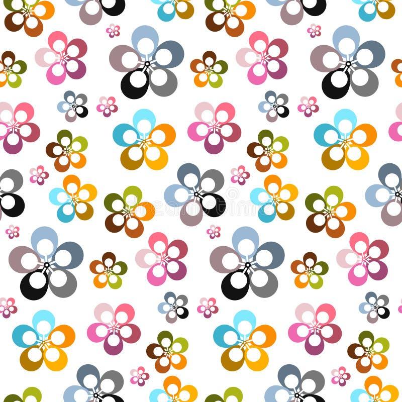 Красочный конспект вектора цветет безшовная предпосылка иллюстрация штока