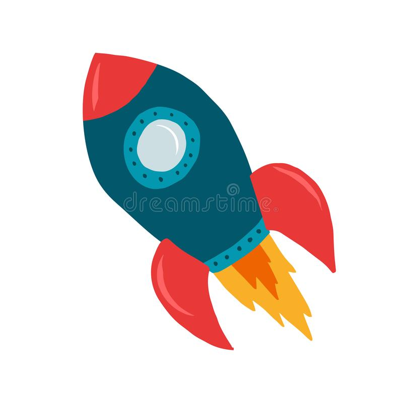 Красочный космический корабль ракеты ребенка, голубых и красных стоковые изображения rf