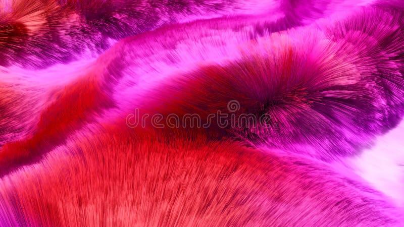 Красочный красный и розовый ковер 3D длины волос представил взгляд права предпосылки стоковые фото