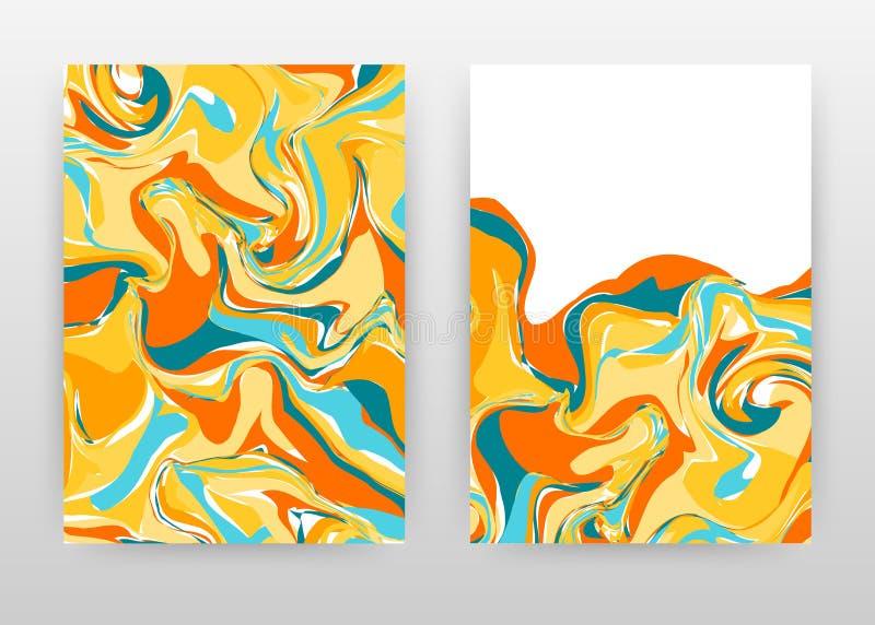 Красочный крася дизайн летчика брошюры годового отчета дела предпосылки Желтый голубой оранжевый абстрактный шаблон брошюры включ иллюстрация штока