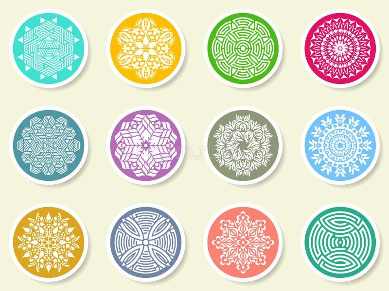 Красочный круглый абстрактный комплект мандалы на ярлыках бесплатная иллюстрация