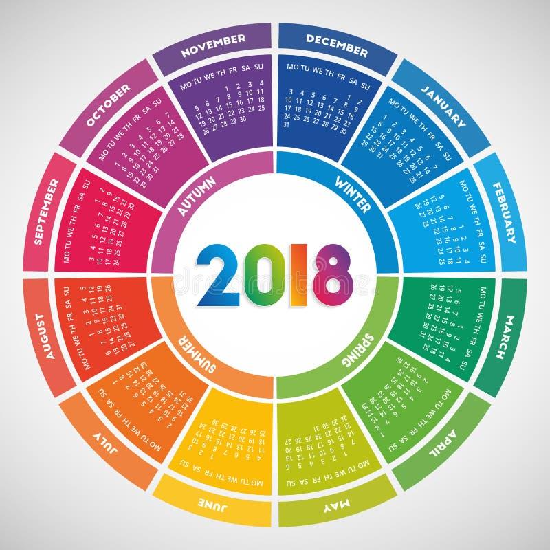 Красочный круглый дизайн календаря 2018 иллюстрация штока