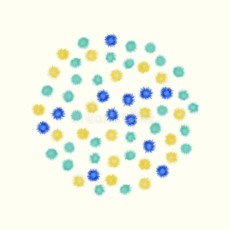 Красочный круг акварели покрашенный от малой сини иллюстрация штока