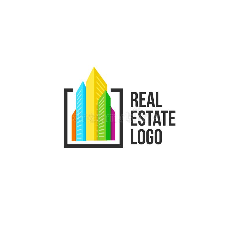 Красочный логотип городского пейзажа установленный в черную рамку Новый логотип зданий Шаблон знака имущественного агентства недв иллюстрация вектора