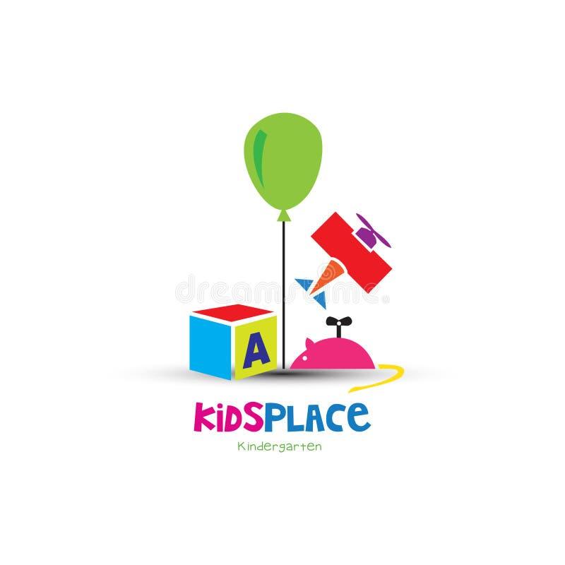 Красочный логотип детей игрушек иллюстрация вектора