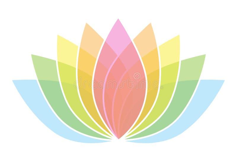 Красочный логотип значка цветка лотоса на белой иллюстрации 2 предпосылки иллюстрация вектора