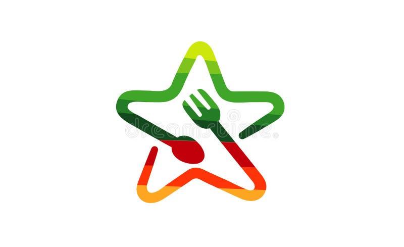 Красочный логотип ложки вилки звезды еды иллюстрация вектора