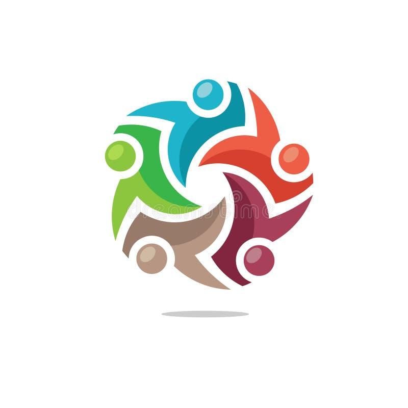 Красочный логотип людей общины иллюстрация штока