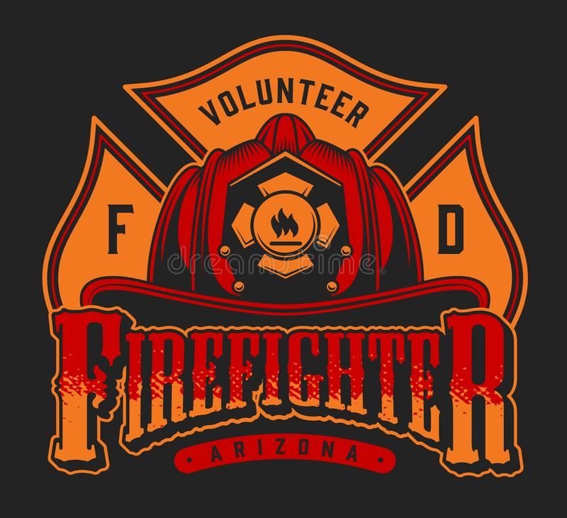 Красочный логотип пожарного иллюстрация вектора