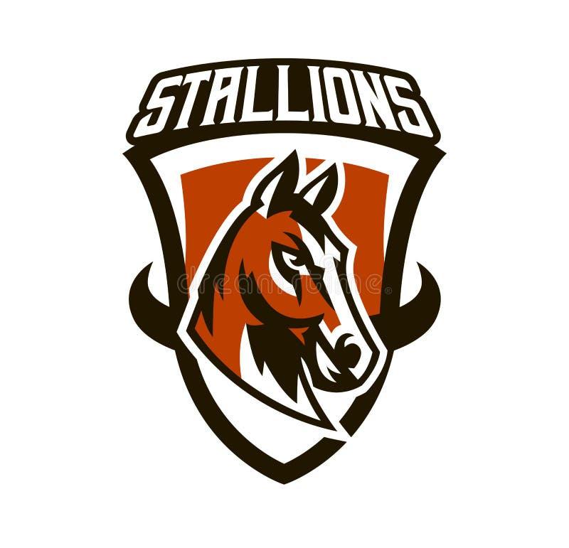 Красочный логотип, стикер, эмблема лошади Красивый жеребец, лошадиные скачки, быстрое животное, талисман спортклуба Экран бесплатная иллюстрация