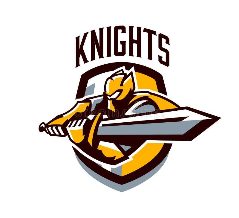 Красочный логотип, стикер, эмблема, рыцарь атакует с шпагой Панцырь рыцаря, паладин золота, swordsman бесплатная иллюстрация