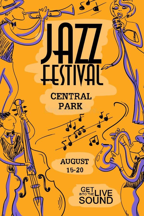 Красочный музыкальный плакат с джазовыми музыкантами иллюстрация вектора