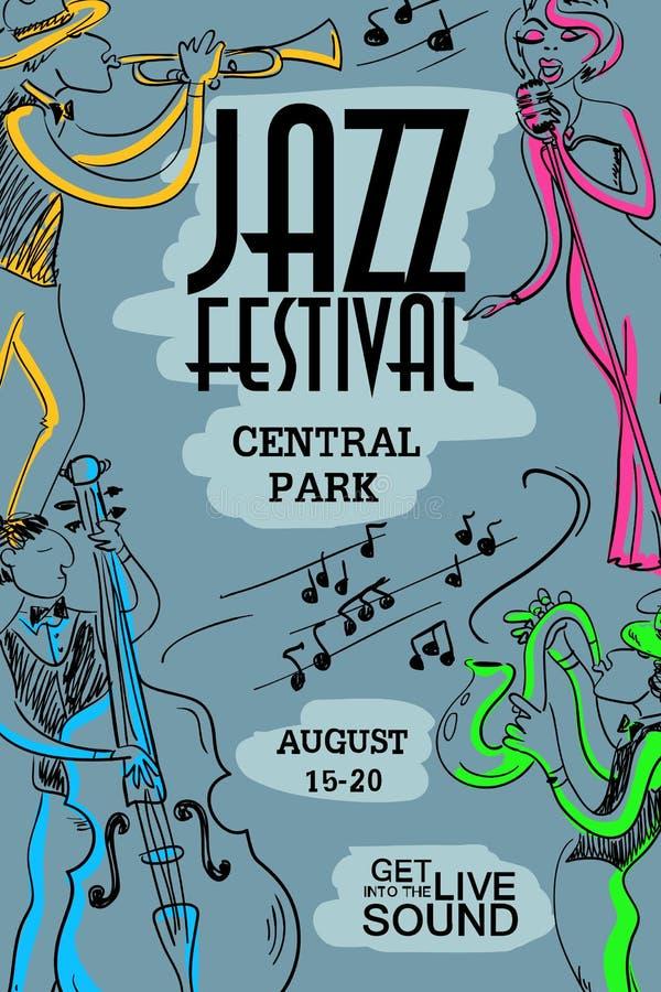 Красочный музыкальный плакат с джазовыми музыкантами бесплатная иллюстрация