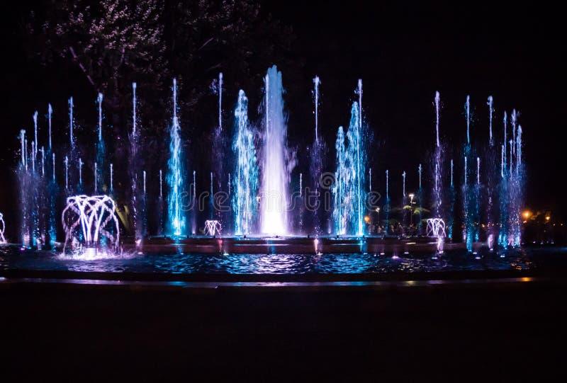 Красочный музыкальный фонтан стоковое фото rf