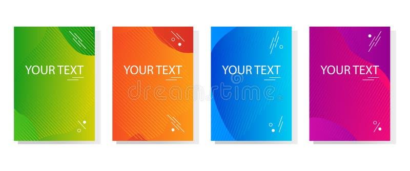 Красочный набор знамен конспекта динамических современных ярких, дизайн крышки шаблона Покрашенный градиент r иллюстрация штока