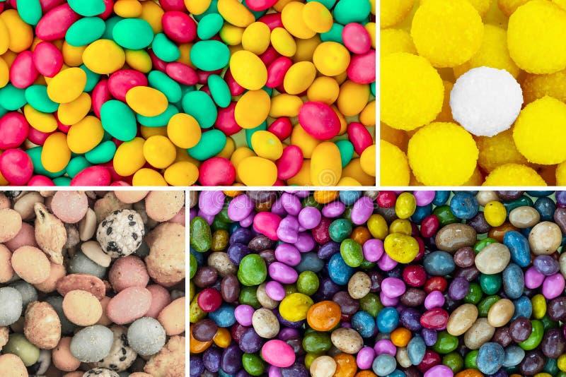 Красочный набор камней dragee покрытых с шариками поленики поливы голубыми зелеными candied желтыми и солеными арахисами смешиван стоковое фото
