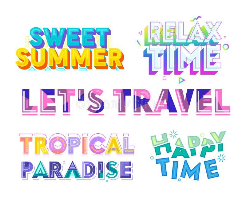Красочный набор оформления, сладкое лето, ослабляет, счастливое время, тропический рай, позволяет перемещению Искусство зажима дл бесплатная иллюстрация