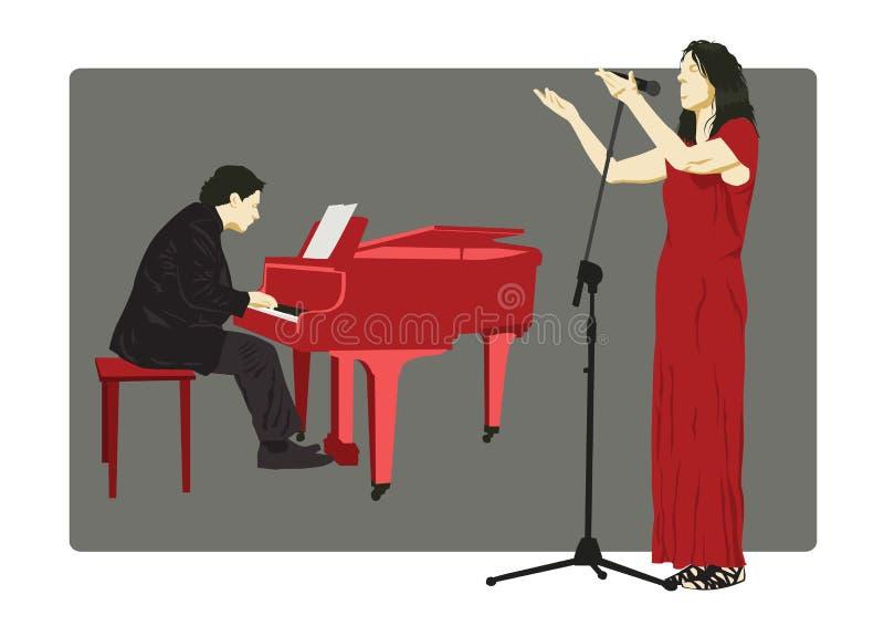 Красочный набор силуэтов пианиста и певицы также вектор иллюстрации притяжки corel иллюстрация штока