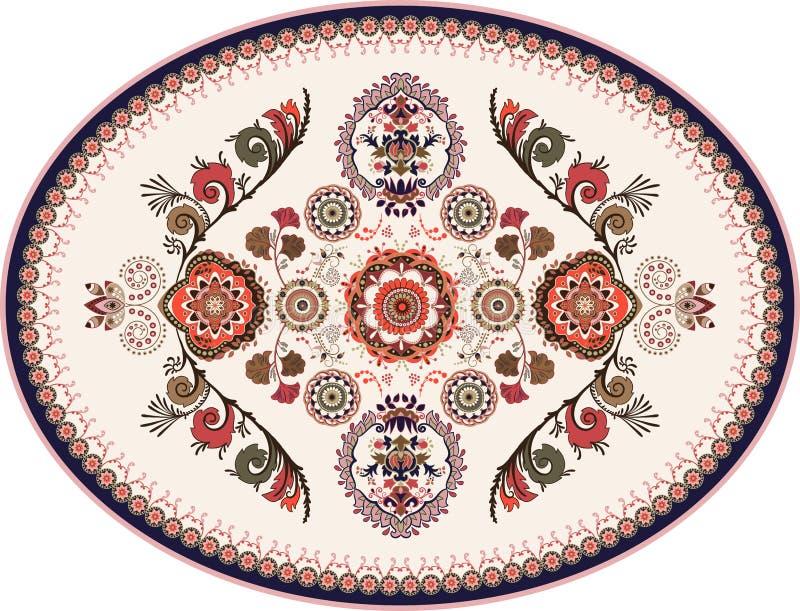 Красочный овальный персидский дизайн вектора для половика, ковра, медальона Геометрический флористический фон Аравийский орнамент иллюстрация штока
