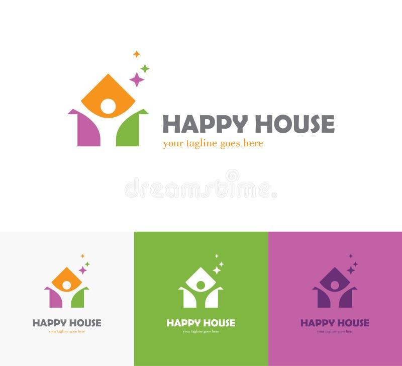 Красочный логотип дома с абстрактным силуэтом человека иллюстрация вектора