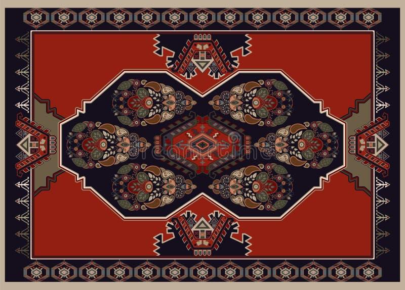 Красочный орнаментальный дизайн вектора для половика, ковра, tapis Персидский ковер, полотенце, ткань, ткань Геометрический флори бесплатная иллюстрация